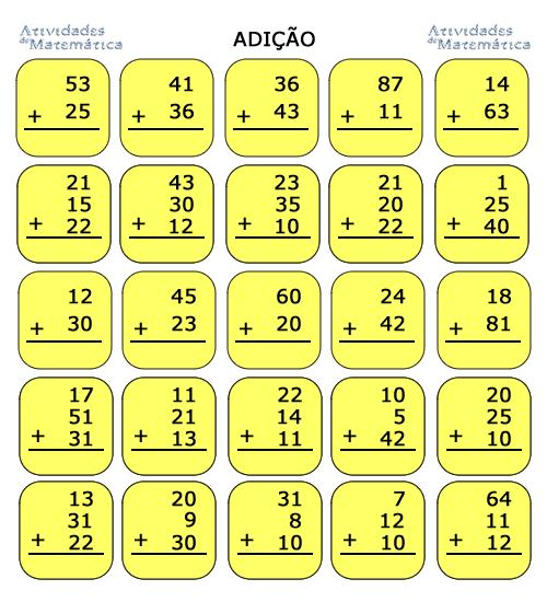Atividades De Matematica Para Educacao Infantil Adicao 2º Ano